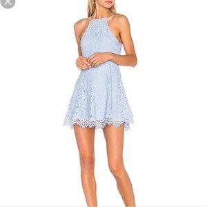 NBD revolve baby blue lace halter skater dress